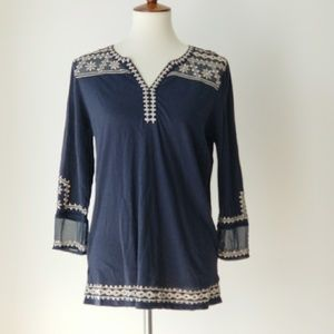 Lucky Brand Blue and White Embroidered Boho Top